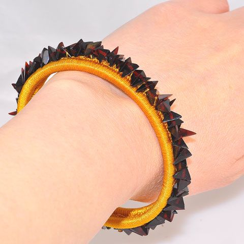 Baltic Cherry Amber Chip Fabric Wrapped Cuff Bracelet