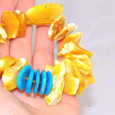 Baltic Butterscotch Amber and Turquoise Oversized Chip Bracelet