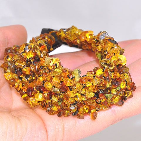 Baltic Honey Amber Chip Mesh Ebony Wood Inserting Box Clasp Bracelet