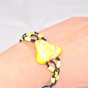 Baltic Butterscotch Amber and Black Thread Flower Bracelet