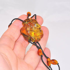 Black Thread Baltic Honey Amber Beaded and Baltic Honey Amber Carved Flower Bracelet