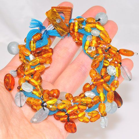 Baltic Honey Amber, Aquamarine and Turquoise Fabric Threaded Bracelet