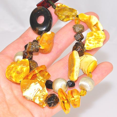 Baltic Raw Amber, Baltic Butterscotch Amber and Sterling Silver Ball Bracelet