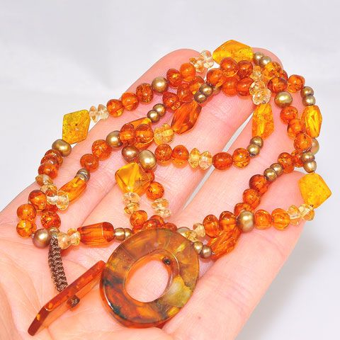 Baltic Honey Amber, Citrine Bead and Pearl Bead 3-Strand Bracelet
