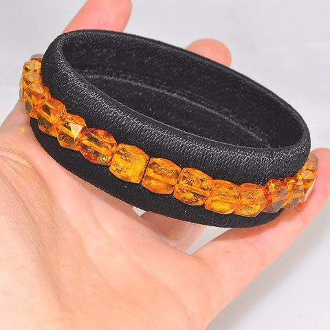 Baltic Honey Amber Beaded Fabric Wrap Cuff Bracelet