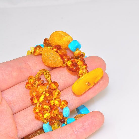 Baltic Butterscotch Raw Amber Nuggets and Beads with Sleeping Beauty Turquoise Beaded Bracelet