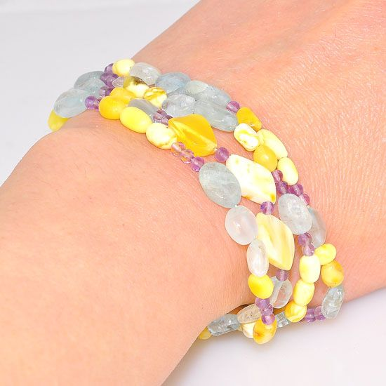 Majestic Baltic Butterscotch Amber, Aquamarine and Amethyst 4-Strand Bracelet