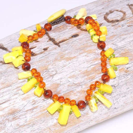 Baltic Honey Amber, Baltic Butterscotch Amber and Peridot Beaded Bracelet