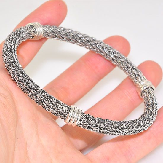 Sterling Silver Intricately Braided Woven Bangle Cuff Bracelet