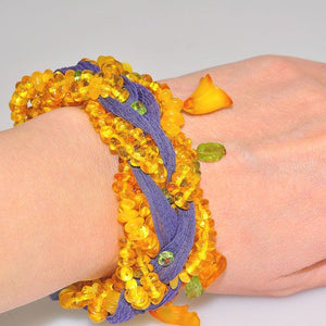 Genuine Baltic Butterscotch Amber, Peridot and Sheer Voile Braided Bracelet
