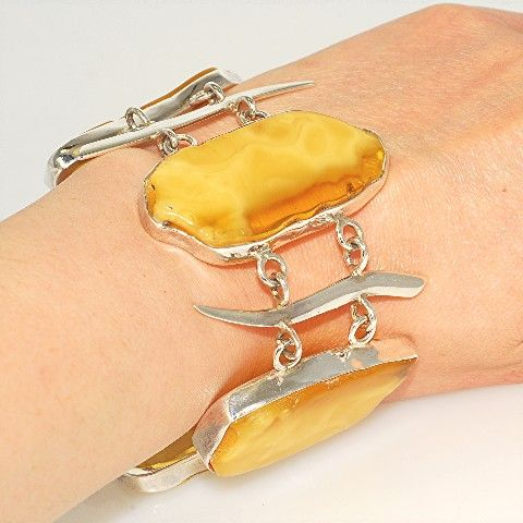 Sterling Silver, Baltic Butterscotch Amber Link Bracelet