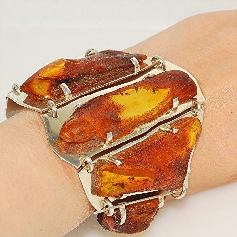 Sterling Silver, Baltic Honey Amber Link Bracelet