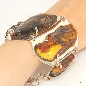 Giant Sterling Silver, Baltic Honey Amber Bracelet
