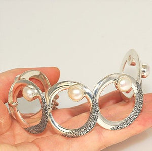Sterling Silver, Mabe Pearl Circles Bracelet
