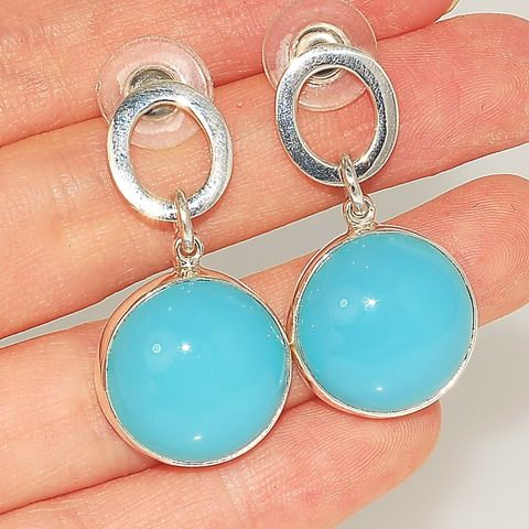 Charles Albert Sterling Silver, Blue Chalcedony Button Earrings