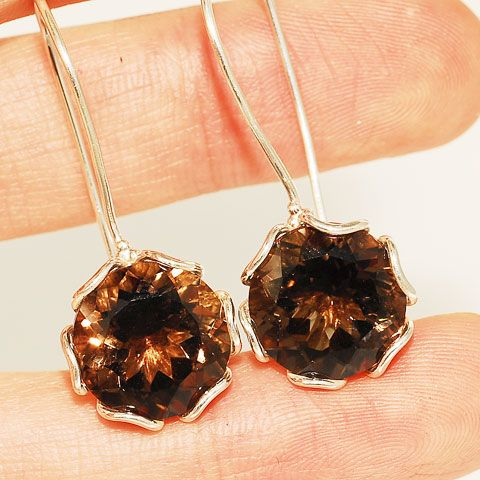 Sterling Silver 8-Carat Brilliant Smoky Quartz Earrings