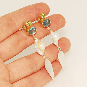 22 K Gold Vermeil and Sterling Silver Blue Topaz, Peridot and Pearl Earrings