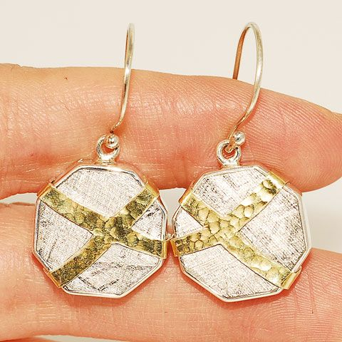 18 K Gold Vermeil and Sterling Silver Meteorite Earrings