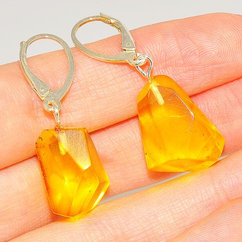 Sterling Silver Baltic Citrine Amber Earrings