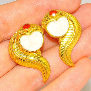 22 K Gold Vermeil Bone Face and Mexican Fire Opal Clip-On Earrings