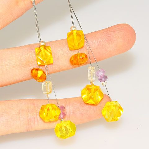 Sterling Silver Baltic Honey Amber, Quartz and Amethyst Earrings
