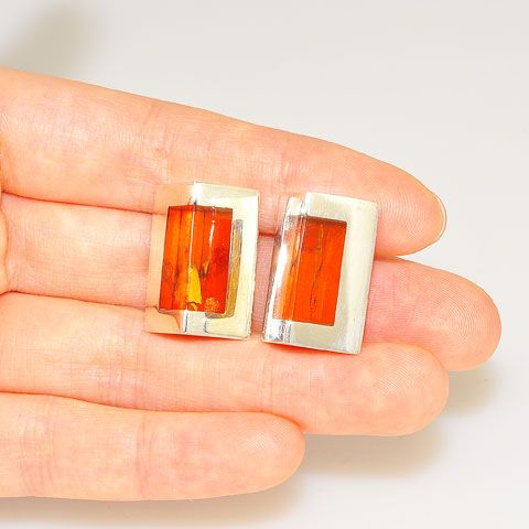 Sterling Silver Baltic Honey Amber Prism Clip-On Earrings