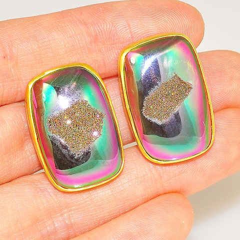 22 K Gold Vermeil and Titanium Druzy Clip-On Earrings