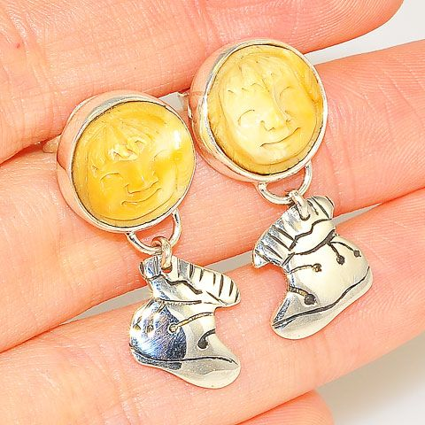 Sterling Silver Carved Fossilized Walrus Ivory Smiling Face Earrings