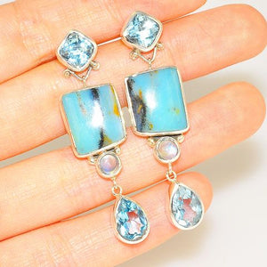 Sterling Silver Peruvian Opal, Blue Topaz and Moonstone Earrings