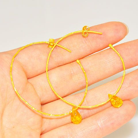 18 K Gold Vermeil Faceted Citrine Hoop Earrings