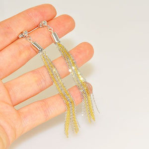 Sterling Silver and 18 K Gold Vermeil Chain Dangle Earrings