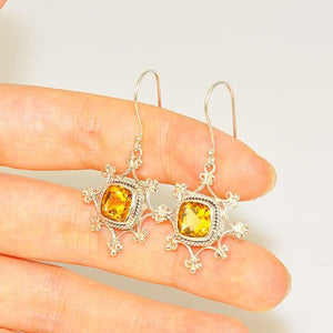 Sterling Silver Citrine Square Dangle Earrings