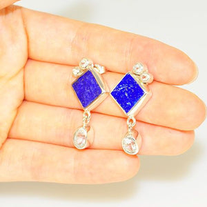Sterling Silver Lapis Lazuli and White Topaz Earrings