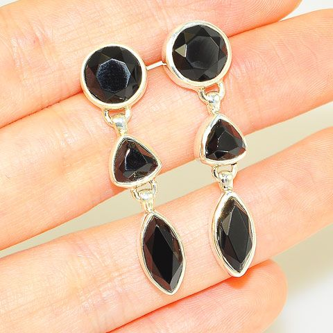 Sterling Silver Faceted Black Onyx Trio Earrings
