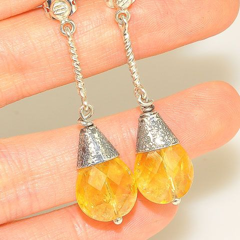 Sterling Silver Faceted Citrine Drop Earrings