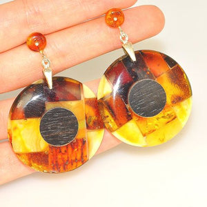 Sterling Silver Baltic Multi Amber and Ebony Wood Earrings
