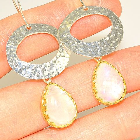 Sterling Silver and 22 K Gold Vermeil Moonstone Pear Drop Earrings