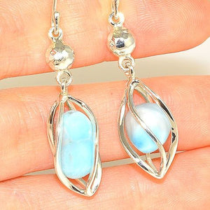 Sterling Silver 9.5-Carat Larimar Cage Earrings