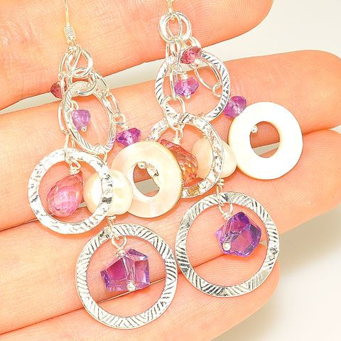 Sterling Silver Pearl, Amethyst, Tourmaline and Shell Earrings
