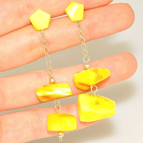 Sterling Silver Baltic Butterscotch Amber Earrings