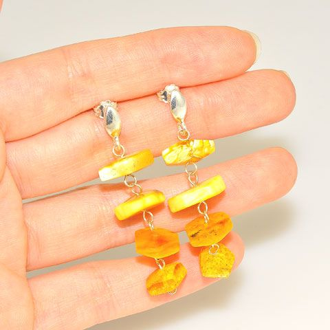 Sterling Silver Baltic Multi Amber Hexagon Earrings