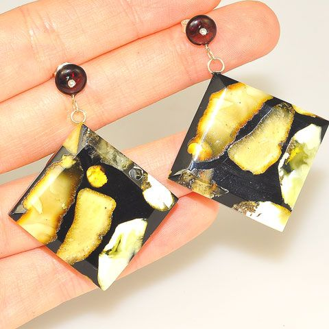 Sterling Silver Baltic Multi Amber in Resin Earrings