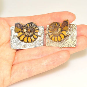Sterling Silver Fossil Ammonite Clip On Earrings