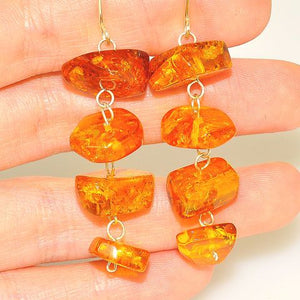 Sterling Silver Baltic Honey Amber Dangle Earrings