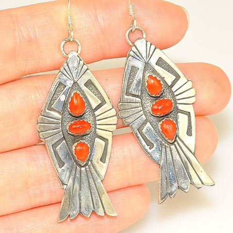 Sterling Silver Red Coral Navajo-Made Earrings by Charles Johnson