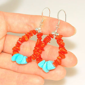 Native American Sterling Silver Turquoise and Red Coral Navajo-Made Earrings Loop by Betty Bitsie