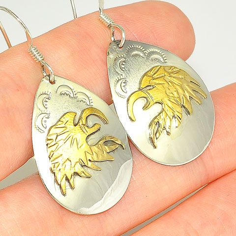 Native American Sterling Silver and 12 K Gold Fill Navajo-Made Eagle Earrings by Roger Jones