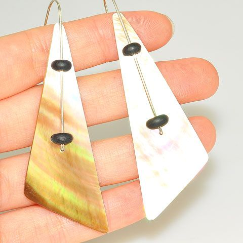 Sterling Silver Shell Triangle Earrings