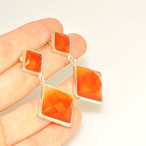 Sterling Silver Faceted Carnelian Squares Stud Earrings