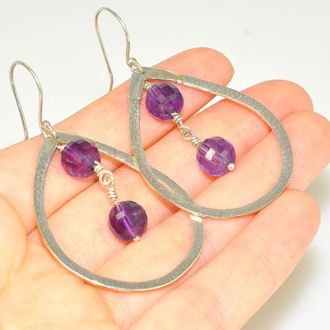 Sterling Silver Faceted Amethyst Sphere Earrings